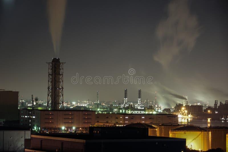 Βιομηχανική ζώνη Keihin που είναι ορατή από την πόλη Kawasaki Marien Kawasaki, νομαρχιακό διαμέρισμα Kanagawa στοκ εικόνα