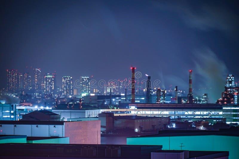 Βιομηχανική ζώνη Keihin που είναι ορατή από την πόλη Kawasaki Marien Kawasaki, νομαρχιακό διαμέρισμα Kanagawa στοκ φωτογραφίες με δικαίωμα ελεύθερης χρήσης