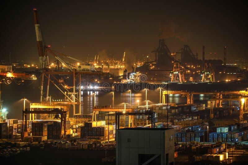 Βιομηχανική ζώνη Keihin που είναι ορατή από την πόλη Kawasaki Marien Kawasaki, νομαρχιακό διαμέρισμα Kanagawa στοκ φωτογραφίες