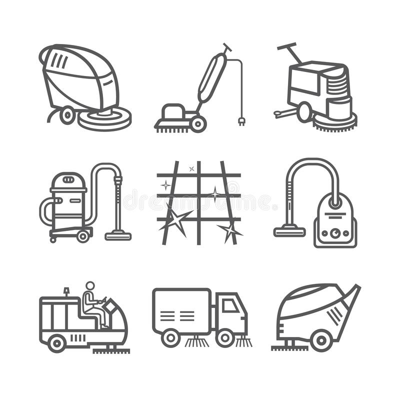 Βιομηχανική καθαρίζοντας υπηρεσία εργαζόμενος Κενός τρίφτης Μηχανές οχημάτων αποκομιδής απορριμμάτων Λεπτό σύνολο εικονιδίων γραμ