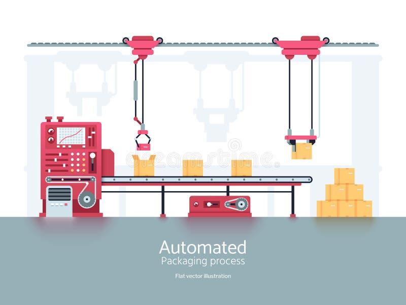 Βιομηχανική μηχανή συσκευασίας με τη διανυσματική απεικόνιση γραμμών παραγωγής μεταφορέων διανυσματική απεικόνιση