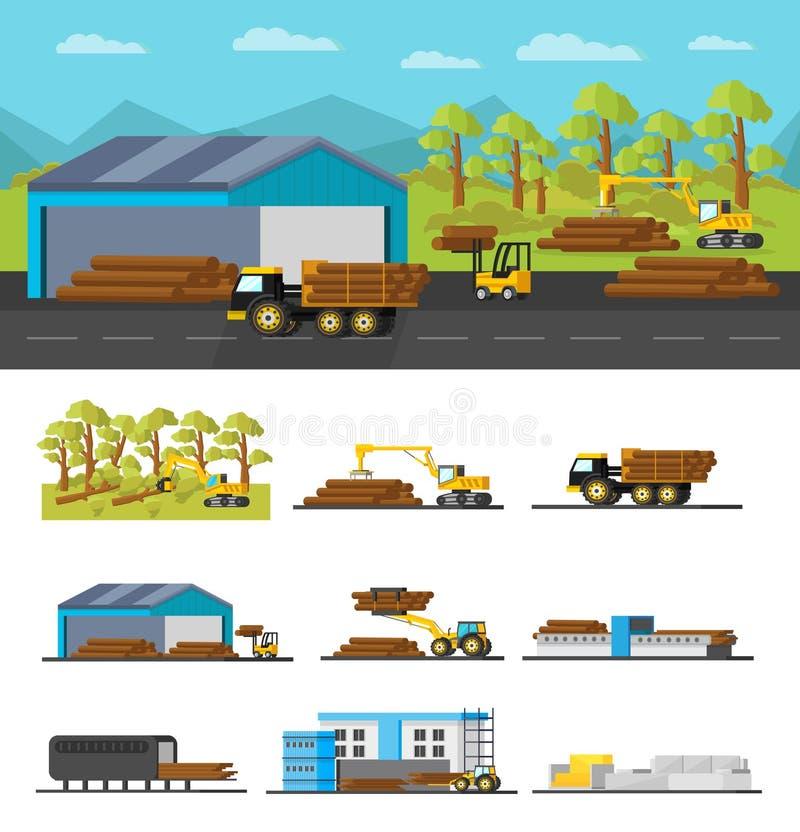 Βιομηχανική ξύλινη έννοια παραγωγής διανυσματική απεικόνιση