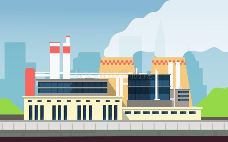 Βιομηχανική οικοδόμηση κτηρίου εργοστασίων εξωτερική με το τοπίο πόλεων Εγκαταστάσεις τεχνολογίας προστασίας και eco του περιβάλλ διανυσματική απεικόνιση