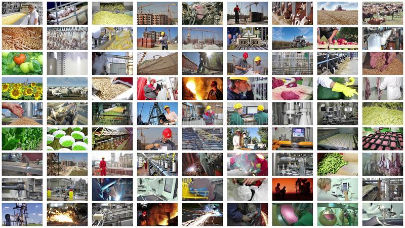 Βιομηχανική παραγωγή κολάζ στοκ εικόνες