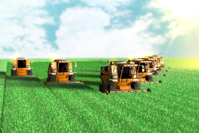 Βιομηχανική τρισδιάστατη απεικόνιση πολλών κίτρινων αγροτικών θεριστικών μηχανών που λειτουργούν στο μεγάλο πράσινο τομέα - έννοι διανυσματική απεικόνιση