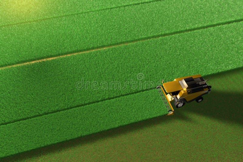 Βιομηχανική τρισδιάστατη απεικόνιση της κίτρινης γεωργικής θεριστικής μηχανής σιταριού που λειτουργεί στον τεράστιο πράσινο τομέα απεικόνιση αποθεμάτων