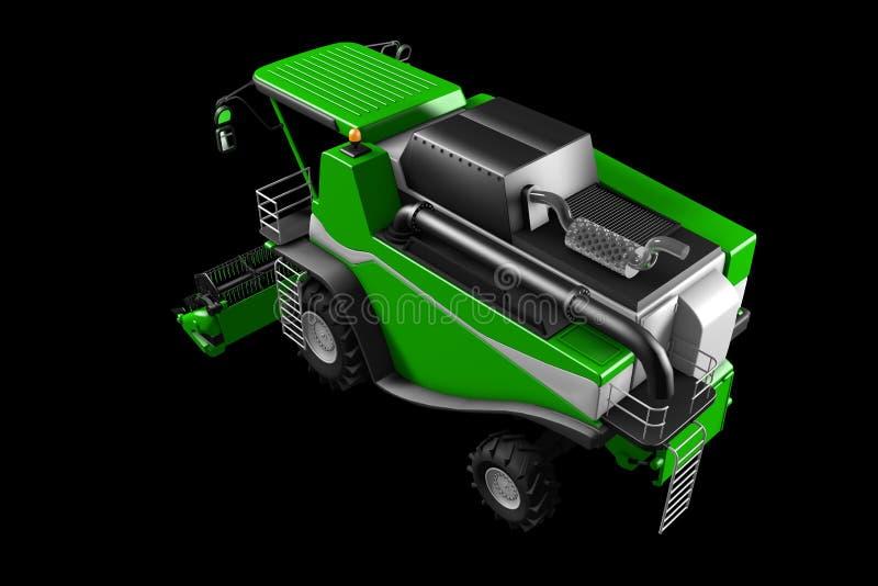 Βιομηχανική τρισδιάστατη απεικόνιση της μεγάλης σύγχρονης πράσινης θεριστικής μηχανής σίκαλης οπισθοσκόπου που απομονώνει στο Μαύ διανυσματική απεικόνιση
