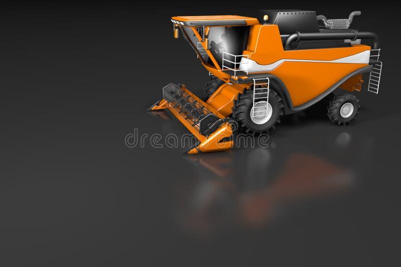 Βιομηχανική τρισδιάστατη απεικόνιση της μεγάλης σύγχρονης πορτοκαλιάς δευτερεύουσας τοπ άποψης αγροτικών θεριστικών μηχανών με τη διανυσματική απεικόνιση