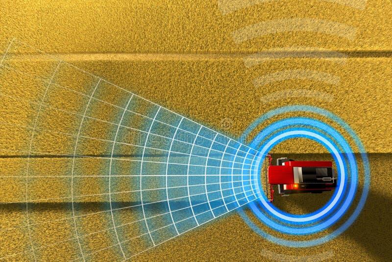 Βιομηχανική τρισδιάστατη απεικόνιση της μόνης οδήγησης, τηλεκατευθυνόμενη, αυτόνομη αγροτική θεριστική μηχανή που λειτουργεί στον ελεύθερη απεικόνιση δικαιώματος