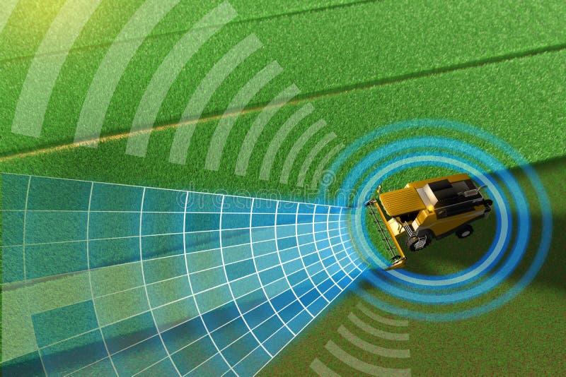 Βιομηχανική τρισδιάστατη απεικόνιση της μόνης οδήγησης, τηλεκατευθυνόμενη, αυτόνομη θεριστική μηχανή σιταριού που λειτουργεί στον ελεύθερη απεικόνιση δικαιώματος