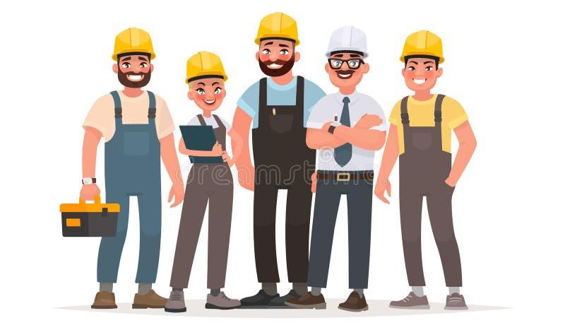 Βιομηχανικοί εργάτες Ομάδα των οικοδόμων Μηχανικός, τεχνικός και W διανυσματική απεικόνιση