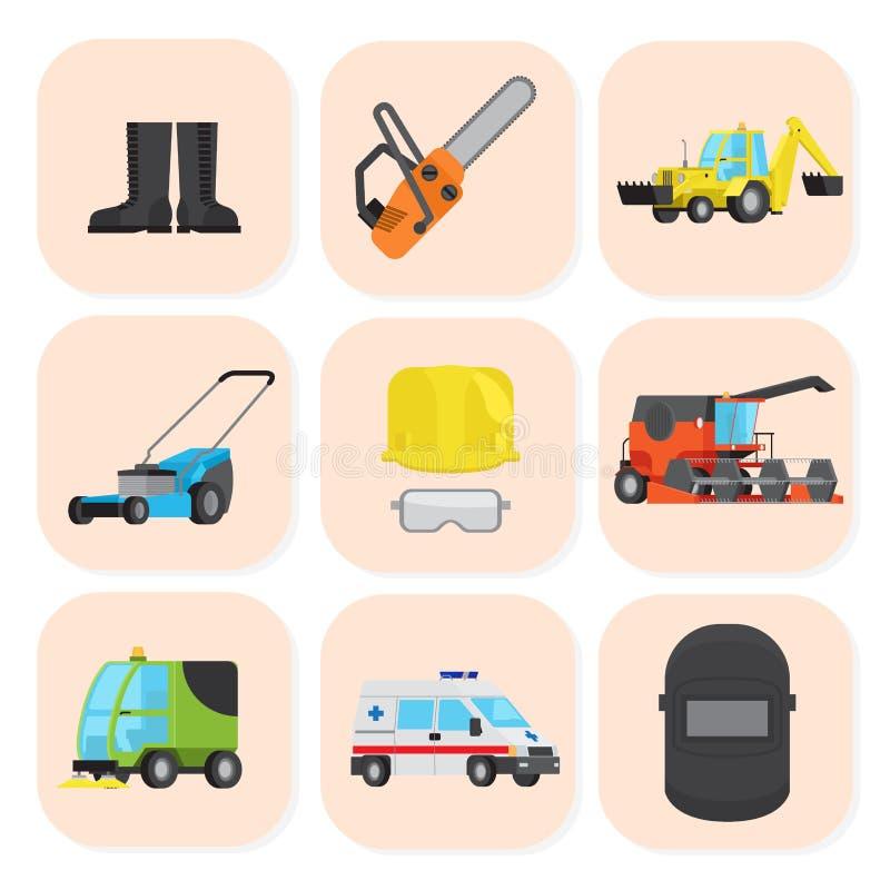 Βιομηχανικός εξοπλισμός και ειδικά εικονίδια μηχανών καθορισμένοι ελεύθερη απεικόνιση δικαιώματος