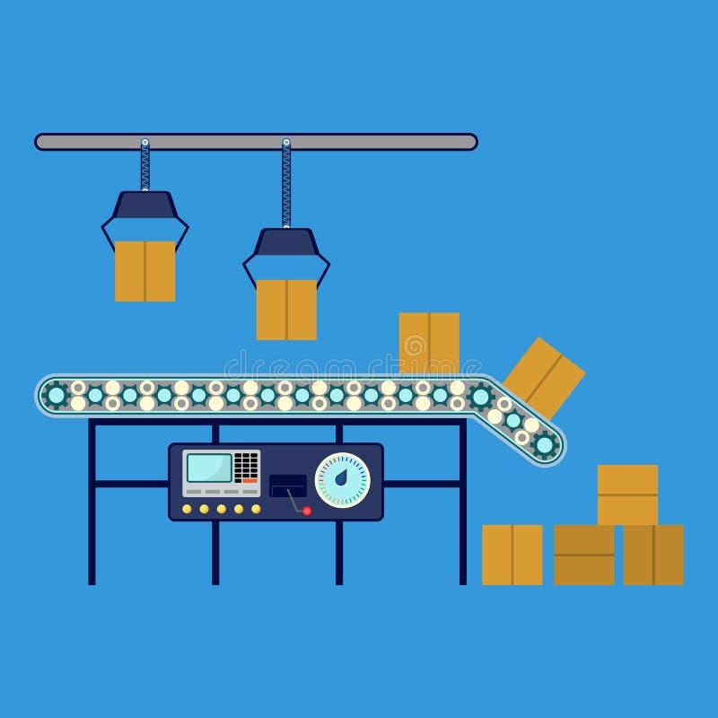 Βιομηχανικός εξοπλισμός για τα κιβώτια, μεταφορέας συνελεύσεων γραμμών μηχανημάτων διανυσματική απεικόνιση