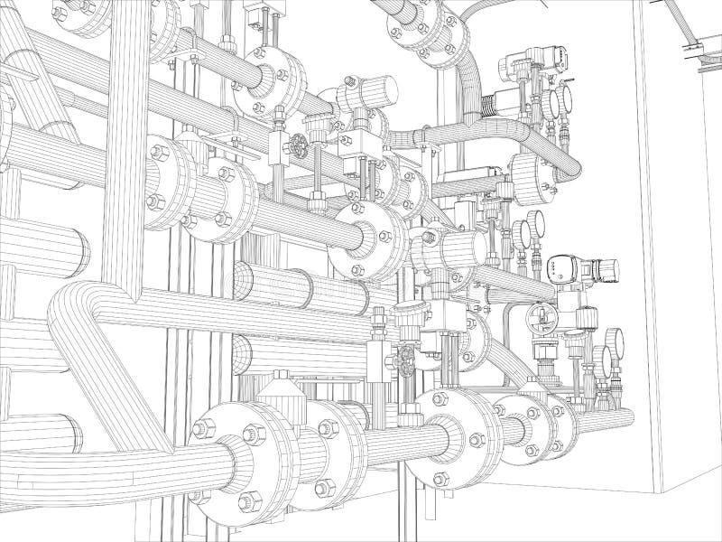 Βιομηχανικός εξοπλισμός. Το καλώδιο-πλαίσιο δίνει διανυσματική απεικόνιση