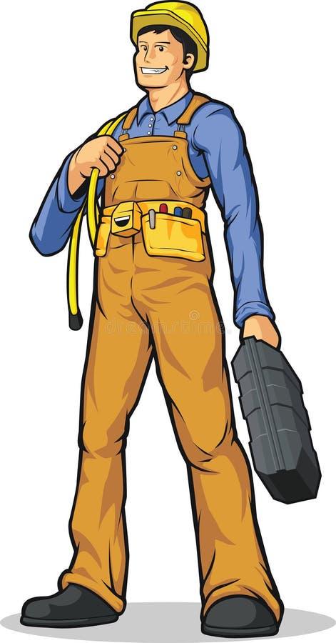 Βιομηχανικός εργάτης με το σχοινί & την εργαλειοθήκη ελεύθερη απεικόνιση δικαιώματος