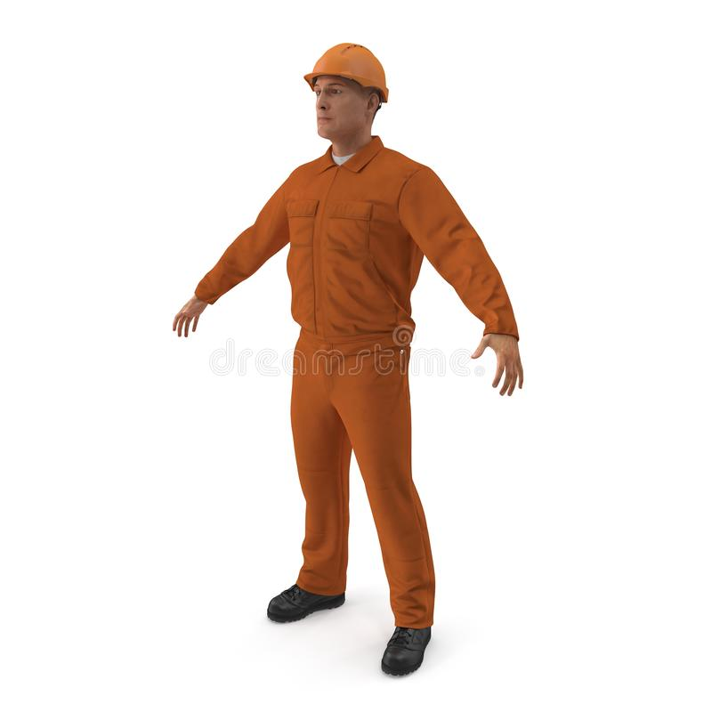 Βιομηχανικός εργάτης στις πορτοκαλιές φόρμες με Hardhat που απομονώνεται στο άσπρο υπόβαθρο τρισδιάστατη απεικόνιση ελεύθερη απεικόνιση δικαιώματος