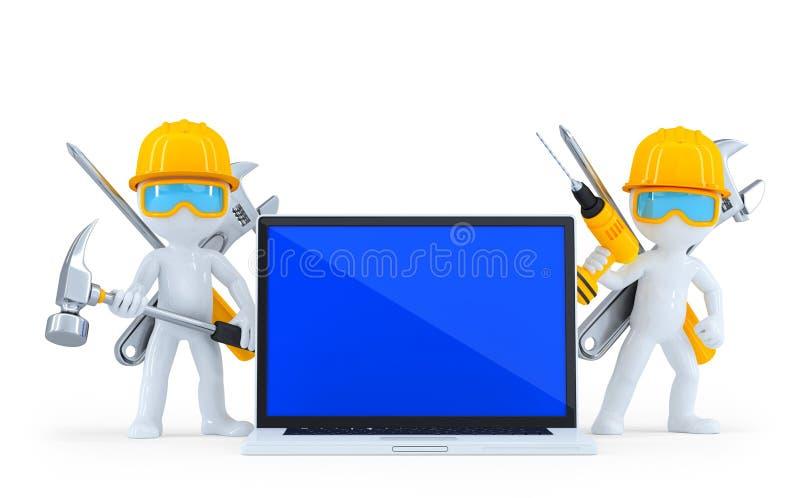 βιομηχανικός εργαζόμενος lap-top απομονωμένος Ψαλιδίζοντας μονοπάτι απεικόνιση αποθεμάτων