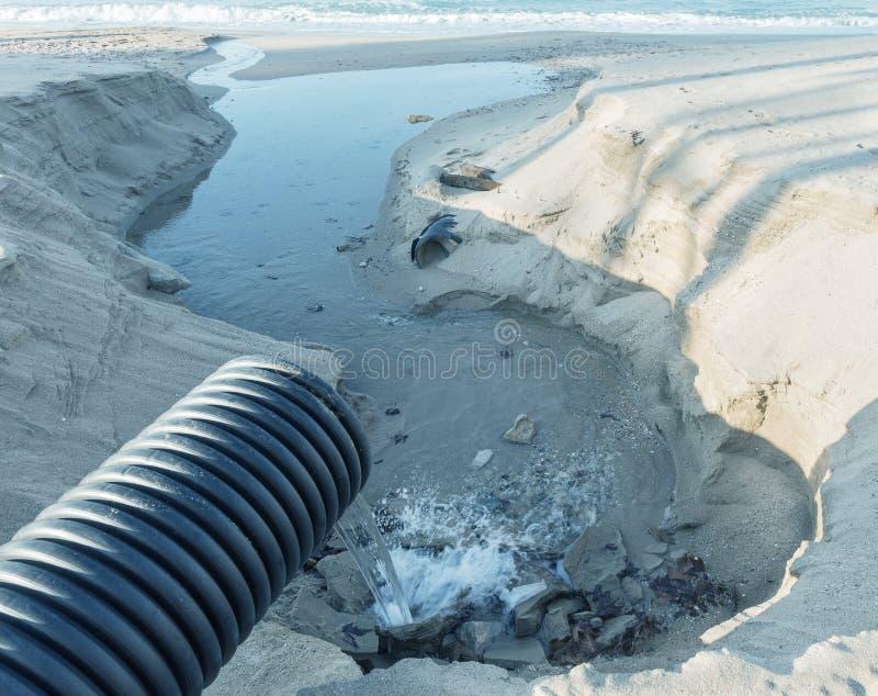 Βιομηχανικό απόβλητο ύδωρ, τα υγρά βιομηχανικά απόβλητα απαλλαγών σωληνώσεων στη θάλασσα σε μια παραλία πόλεων Βρώμικες ροές λυμά στοκ εικόνα