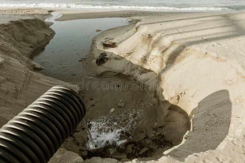 Βιομηχανικό απόβλητο ύδωρ, τα υγρά βιομηχανικά απόβλητα απαλλαγών σωληνώσεων στη θάλασσα σε μια παραλία πόλεων Βρώμικες ροές λυμά στοκ εικόνα με δικαίωμα ελεύθερης χρήσης