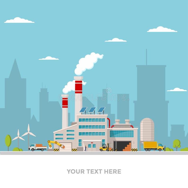 Βιομηχανικό εργοστάσιο στο επίπεδο ύφος ένα διάνυσμα μια απεικόνιση Εργοστάσιο, δρόμος, δέντρο, πρόσοψη παραθύρων Εργοστάσιο ύφου διανυσματική απεικόνιση