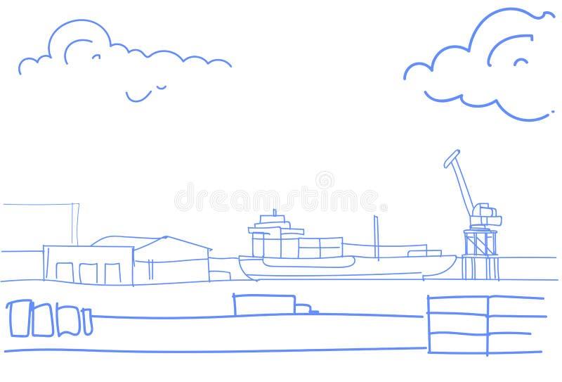 Βιομηχανικό θαλασσίων λιμένων φορτίου φορτίου σκαφών γερανών νερού παράδοσης μεταφορών έννοιας σκίτσο αποβαθρών αποθηκών εμπορευμ διανυσματική απεικόνιση