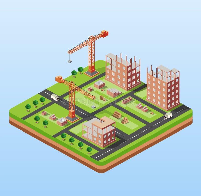 Βιομηχανικό κτήριο πόλεων απεικόνιση αποθεμάτων