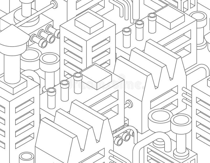 Βιομηχανικό σχέδιο εγκαταστάσεων άνευ ραφής manufactory σύσταση εργοστάσιο διανυσματική απεικόνιση