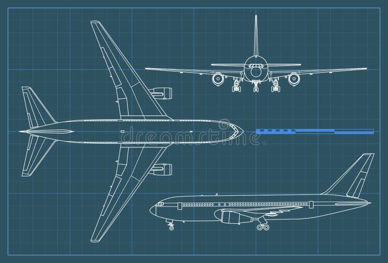Βιομηχανικό σχεδιάγραμμα του αεροπλάνου Διανυσματικό αεροπλάνο σχεδίων περιλήψεων σε ένα μπλε υπόβαθρο Τοπ, δευτερεύουσα και μπρο ελεύθερη απεικόνιση δικαιώματος