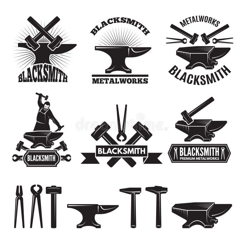 Βιομηχανικό σύνολο λογότυπων Ετικέτες για το σιδηρουργό Διανυσματικό πρότυπο σχεδίου με τη θέση για το κείμενό σας διανυσματική απεικόνιση