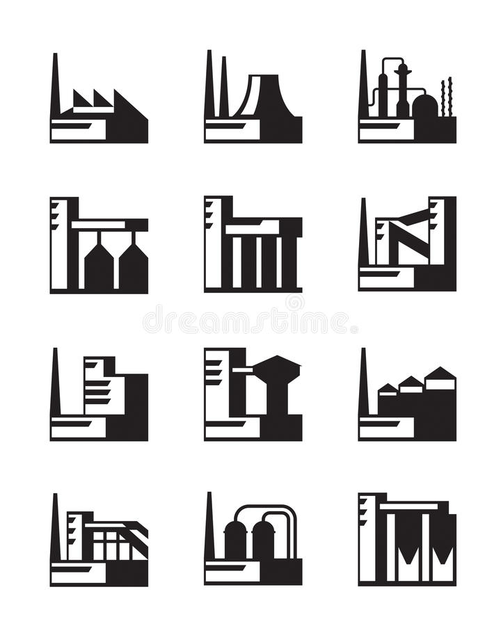 Βιομηχανικό σύνολο κατασκευής διανυσματική απεικόνιση