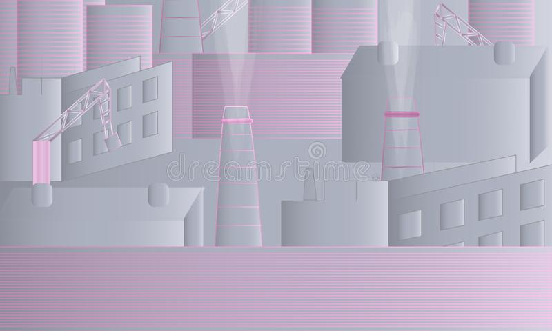Βιομηχανικό τοπίο γκρίζο και ρόδινο απεικόνιση αποθεμάτων