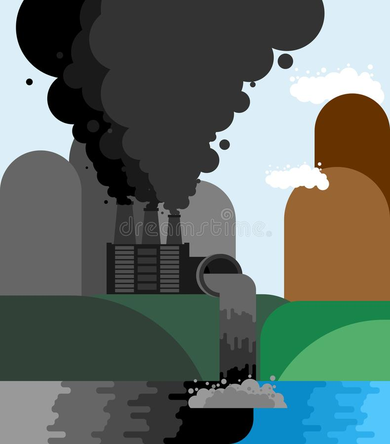 βιομηχανικό τοπίο Εκπομπές εγκαταστάσεων στον ποταμό περιβαλλοντικός ελεύθερη απεικόνιση δικαιώματος