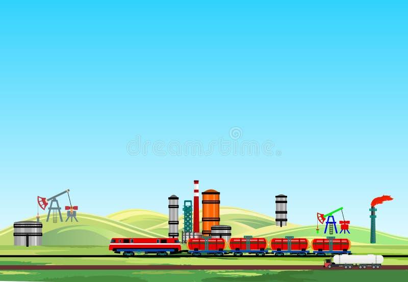 Βιομηχανικό τοπίο πετρελαίου, τραίνο πετρελαίου και εγκαταστάσεις πετρελαίου, εργοστάσιο βενζίνης στοκ εικόνα