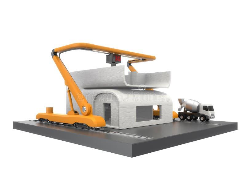 Βιομηχανικό τρισδιάστατο πρότυπο σπιτιών εκτύπωσης εκτυπωτών διανυσματική απεικόνιση