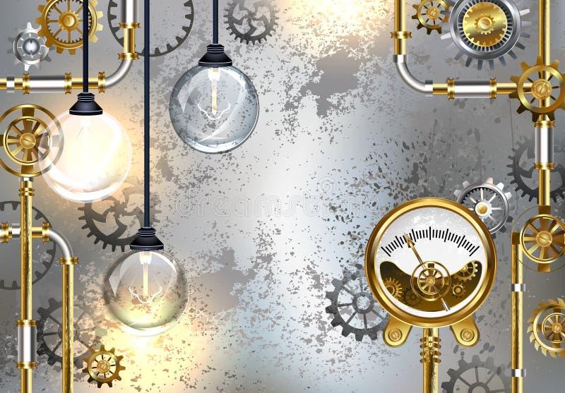 Βιομηχανικό υπόβαθρο με το μανόμετρο και τον ηλεκτρικό λαμπτήρα ελεύθερη απεικόνιση δικαιώματος