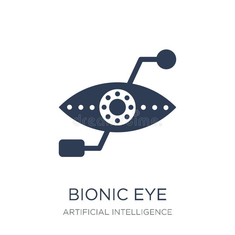 Βιονικό εικονίδιο ματιών Καθιερώνον τη μόδα επίπεδο διανυσματικό βιονικό εικονίδιο ματιών στη λευκιά ΤΣΕ απεικόνιση αποθεμάτων