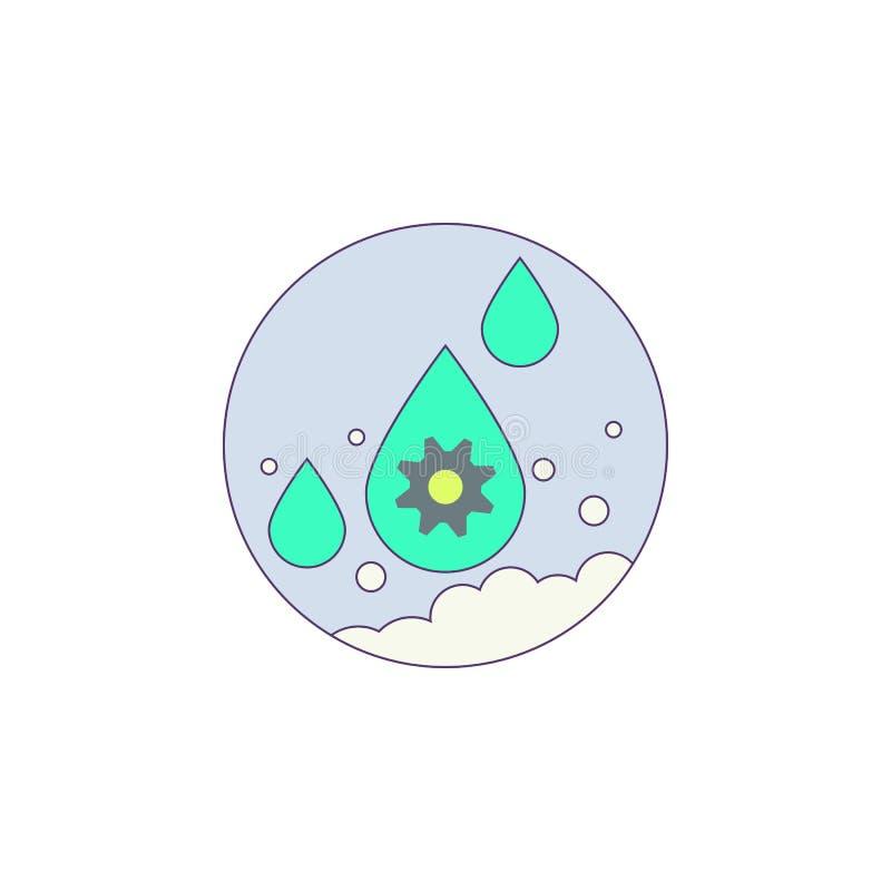 Βιοτεχνολογία, νερό, εργαλείο, μόριο στο εικονίδιο διακριτικών ελεύθερη απεικόνιση δικαιώματος