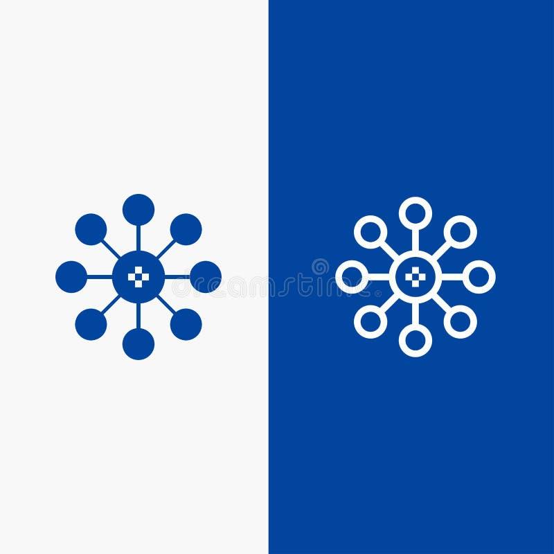 Βιοχημεία, η βιολογία, κύτταρο, γραμμή χημείας και στερεά γραμμή εμβλημάτων εικονιδίων Glyph μπλε και στερεό μπλε έμβλημα εικονιδ διανυσματική απεικόνιση