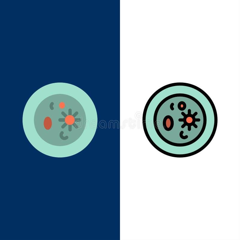 Βιοχημεία, η βιολογία, χημεία, πιάτο, εργαστηριακά εικονίδια Επίπεδος και γραμμή γέμισε το καθορισμένο διανυσματικό μπλε υπόβαθρο απεικόνιση αποθεμάτων