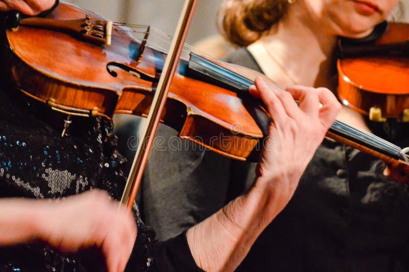 Βιολί παιχνιδιού μουσικών στη συναυλία στοκ φωτογραφία