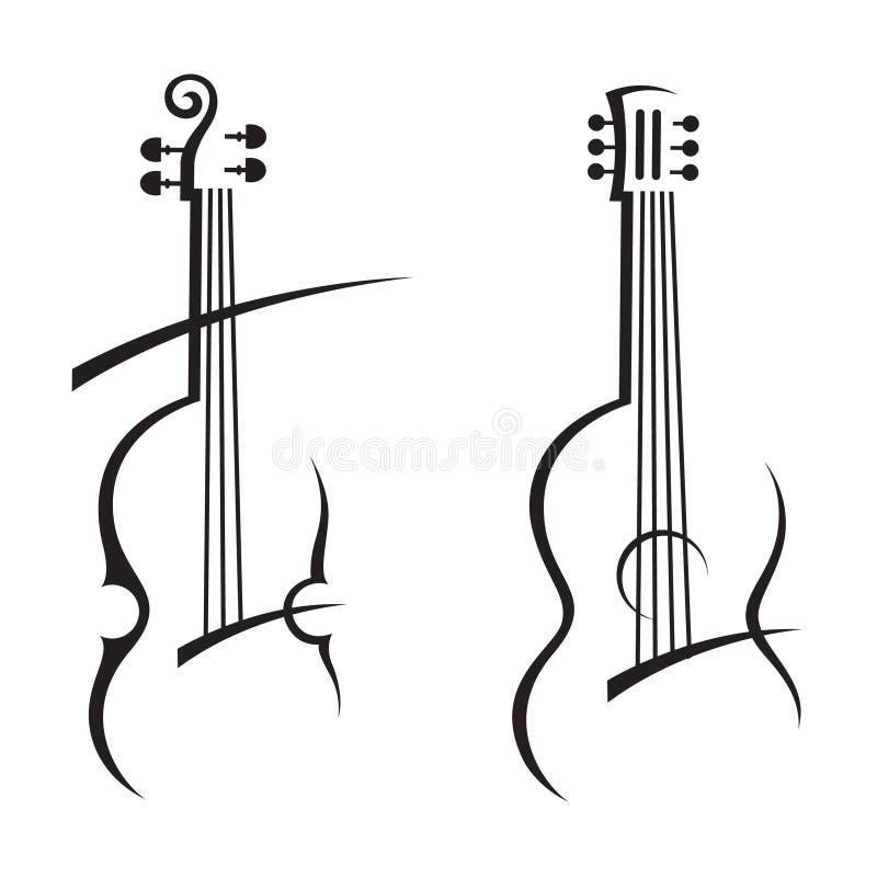 Βιολί και κιθάρα διανυσματική απεικόνιση