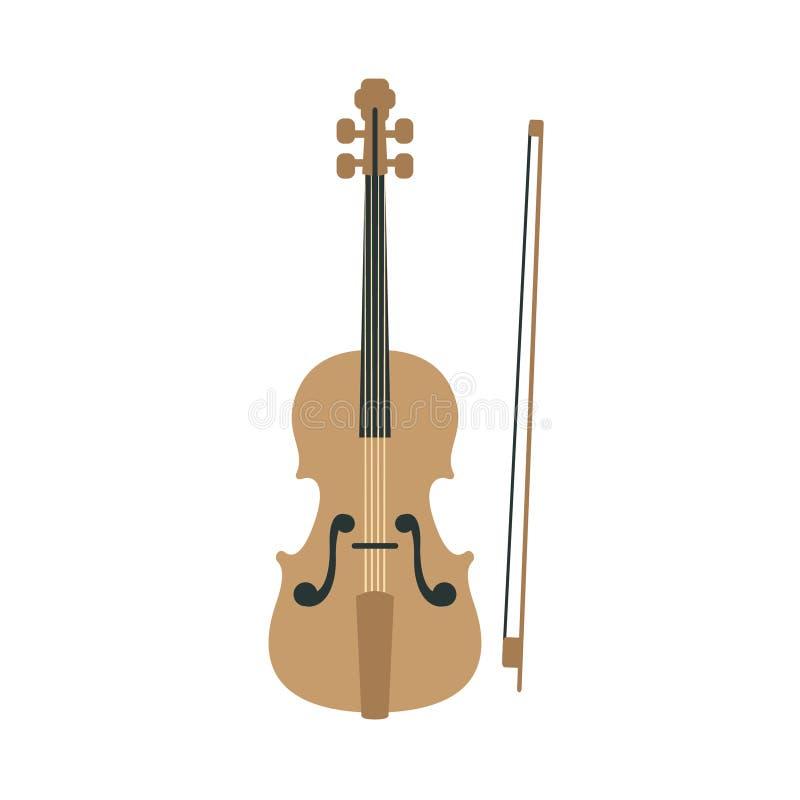 Βιολί, μέρος του μουσικού συνόλου οργάνων ρεαλιστικών απομονωμένων διάνυσμα απεικονίσεων κινούμενων σχεδίων ελεύθερη απεικόνιση δικαιώματος