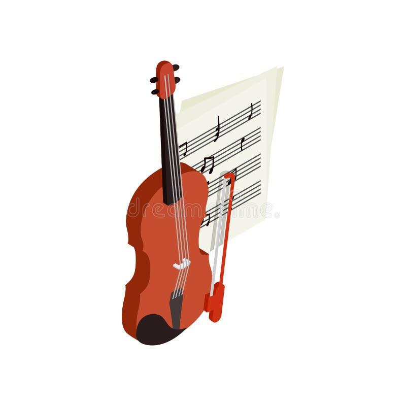 Βιολί με το εικονίδιο fiddlestick, isometric τρισδιάστατο ύφος ελεύθερη απεικόνιση δικαιώματος