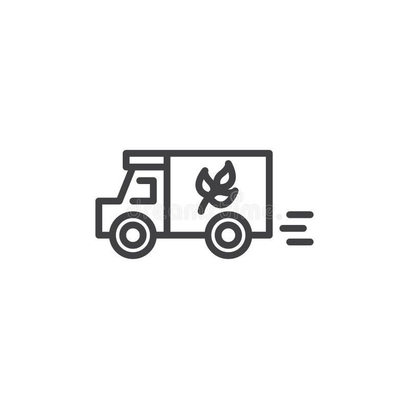Βιο εικονίδιο γραμμών φορτηγών παράδοσης τροφίμων διανυσματική απεικόνιση