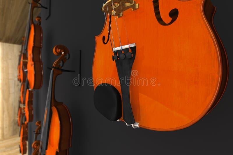 Βιολιά που κρεμιούνται στον τοίχο διανυσματική απεικόνιση