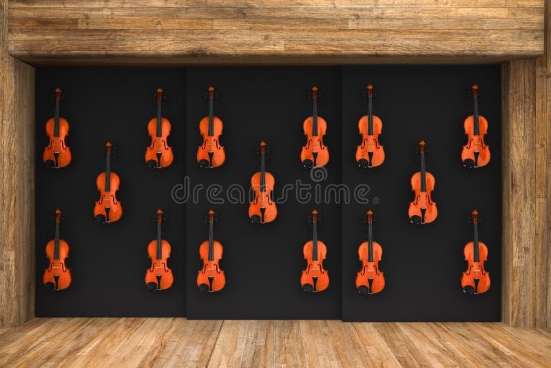 Βιολιά που κρεμιούνται στον τοίχο ελεύθερη απεικόνιση δικαιώματος