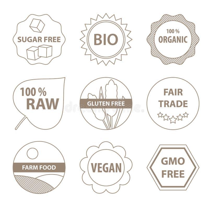 Βιο και υγιή εικονίδια τροφίμων ελεύθερη απεικόνιση δικαιώματος