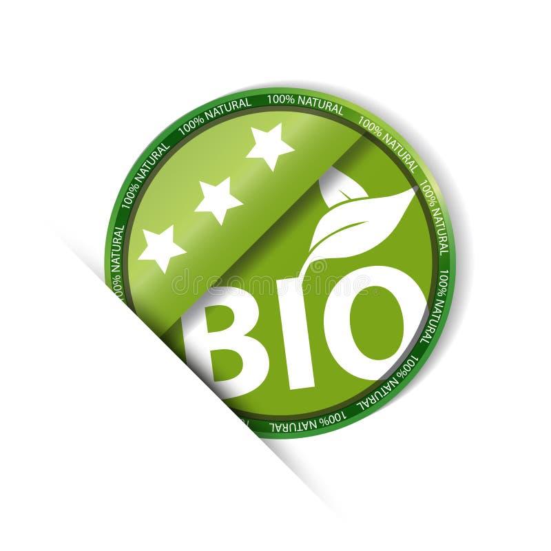 Βιο φυσική - πράσινο στρογγυλό κουμπί - διανυσματική απεικόνιση 100% - που απομονώνεται στο άσπρο υπόβαθρο διανυσματική απεικόνιση