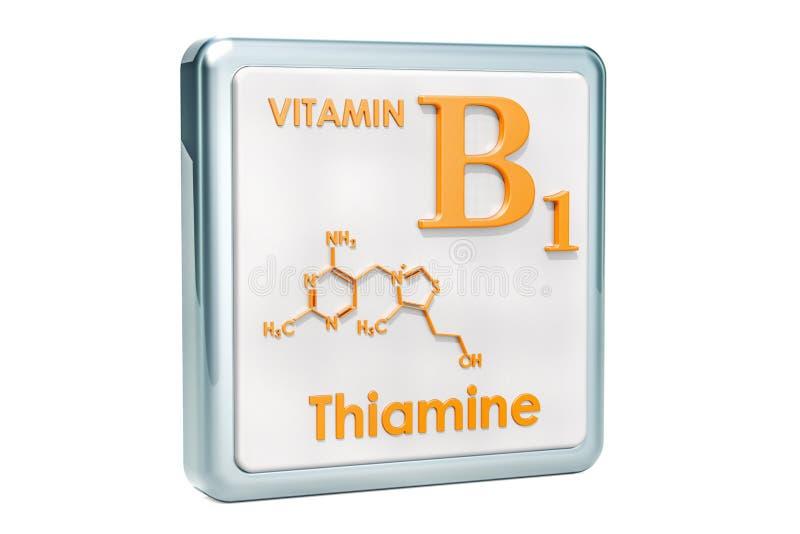 Βιταμίνη B1, thiamine Εικονίδιο, χημικός τύπος, μοριακό structur ελεύθερη απεικόνιση δικαιώματος