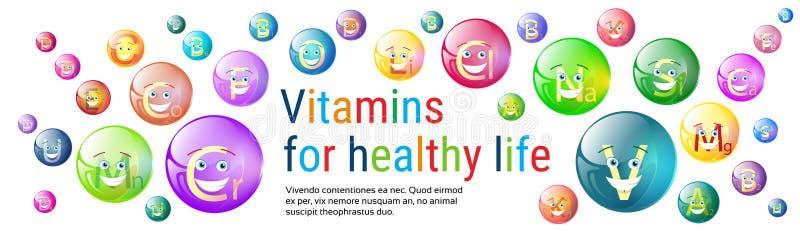 Βιταμινών θρεπτική μεταλλευμάτων ζωηρόχρωμη έννοια στοιχείων χημείας διατροφής ζωής εμβλημάτων υγιής ελεύθερη απεικόνιση δικαιώματος